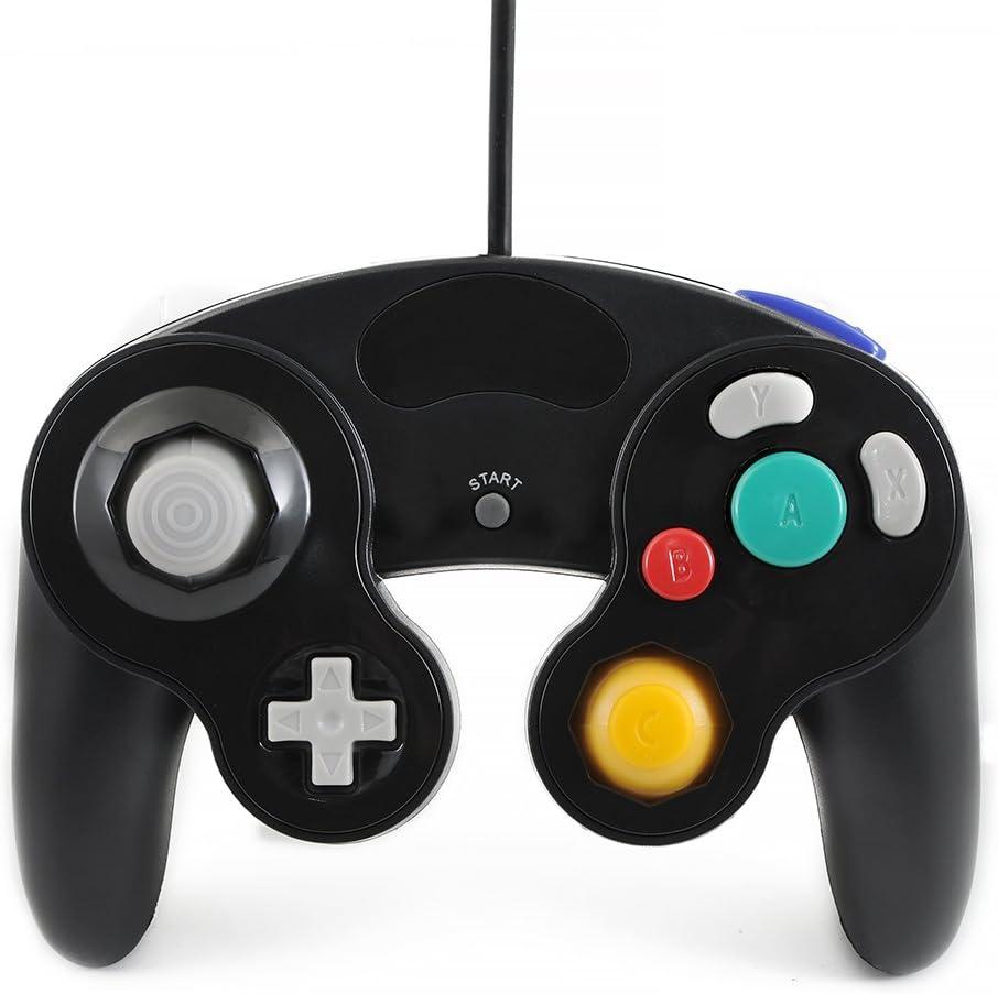 QUMOX Controlador Mando de Juego con Cable Clásico Joypad Gamepad para Nintendo Gamecube Gc y Wii, Negro