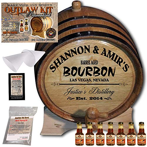 Personalized Whiskey Making Kit (062) - Create Your Own Kentucky Bourbon Whiskey - The Outlaw Kit from Skeeter's Reserve Outlaw Gear - MADE BY American Oak Barrel - (Oak, Black Hoops, 5 Liter)
