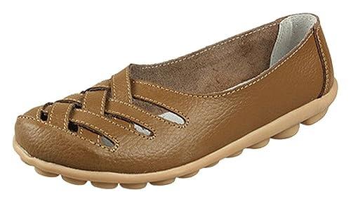 Mocasines de Cuero Mujer Loafers Casual Zapatos de Conducción Cómodos Zapatillas del Barco: Amazon.es: Zapatos y complementos