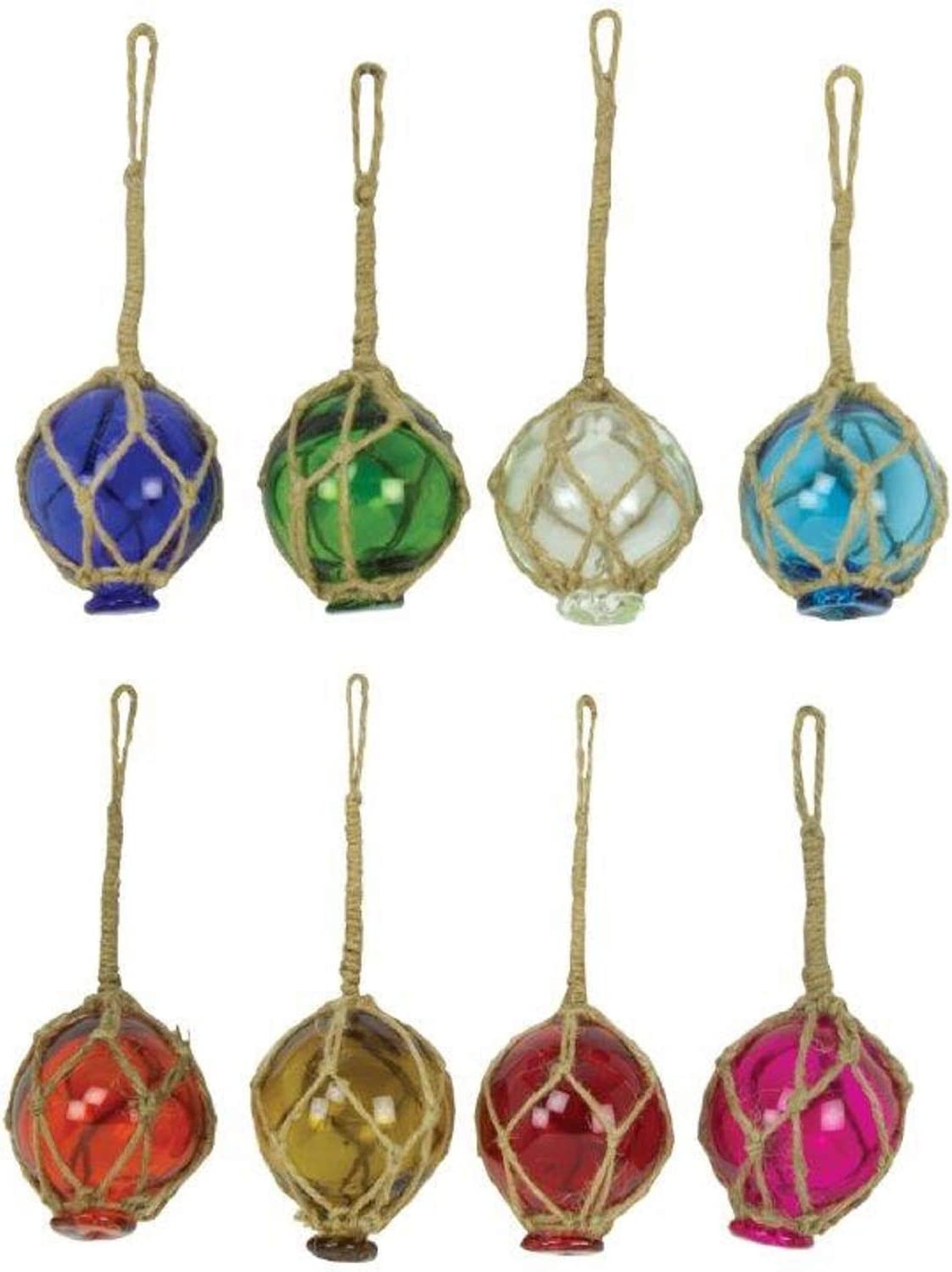 "3 PCS ASSORT COLOR GLASS FLOAT BALL WITH FISHING NET 5/"" **PICK YOUR COLORS**"
