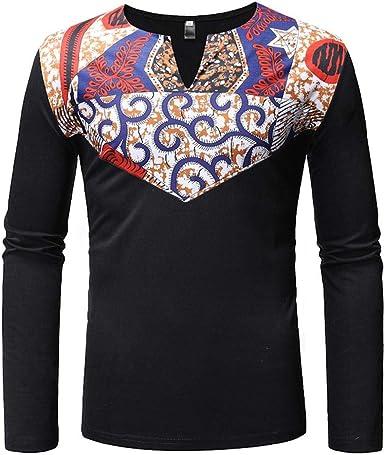 ZhaoKai Mens African Clothing Tribal Dashiki Traditional Maxi Stand Collar Long Sleeves Dress Shirt Plus Size