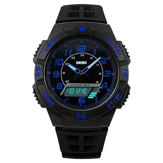 Reloj Para Niños,Reloj Digital-Analogico LED Azul Deportivo,Water Resistant: Amazon.es: Relojes