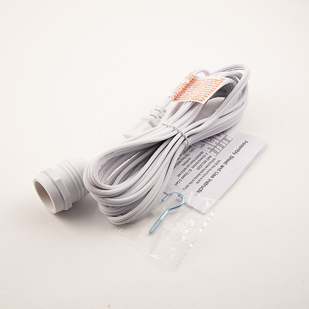 Fantado Single Socket White Weatherproof Outdoor Pendant Light Lamp Cord, 15FT, by PaperLanternStore