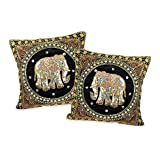 AeraVida Thai Elephant Embroidered Velvet Throw Pillow Cases - Set of 2 - Black