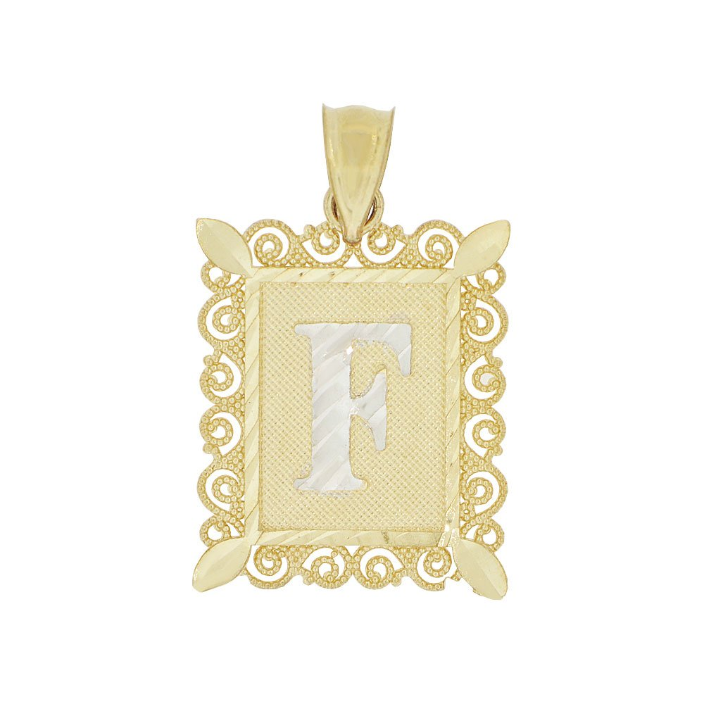 Initial Letter F Pendant Charm Sparkling Filigree 16mm Wide 14k Yellow Gold White Rhodium