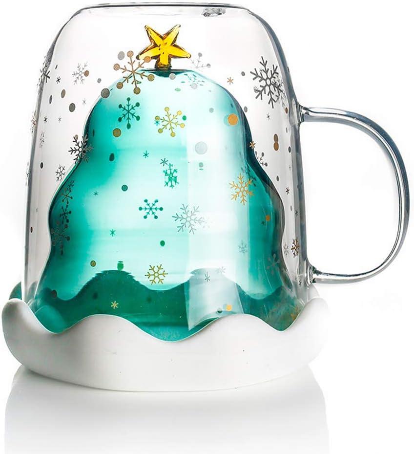 MIFASA Double tasse en verre 3D cr/éative 3D en forme de sapin de No/ël avec couvercle transparent pour enfants