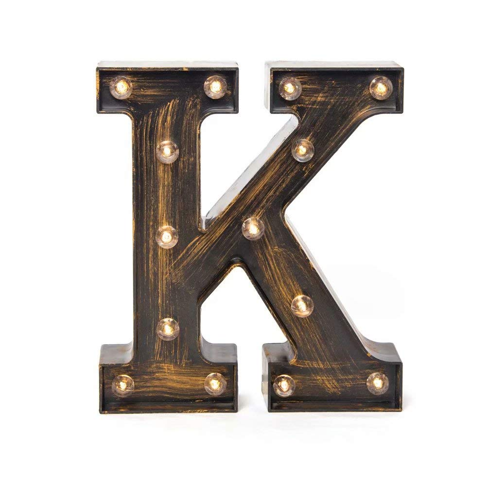 Glintee LED Marquee Letter Lights Vintage Style Light Up 26 Alphabet Letter Signs for Wedding Birthday Party Christmas Home Bar Cafe Initials Decor(K)