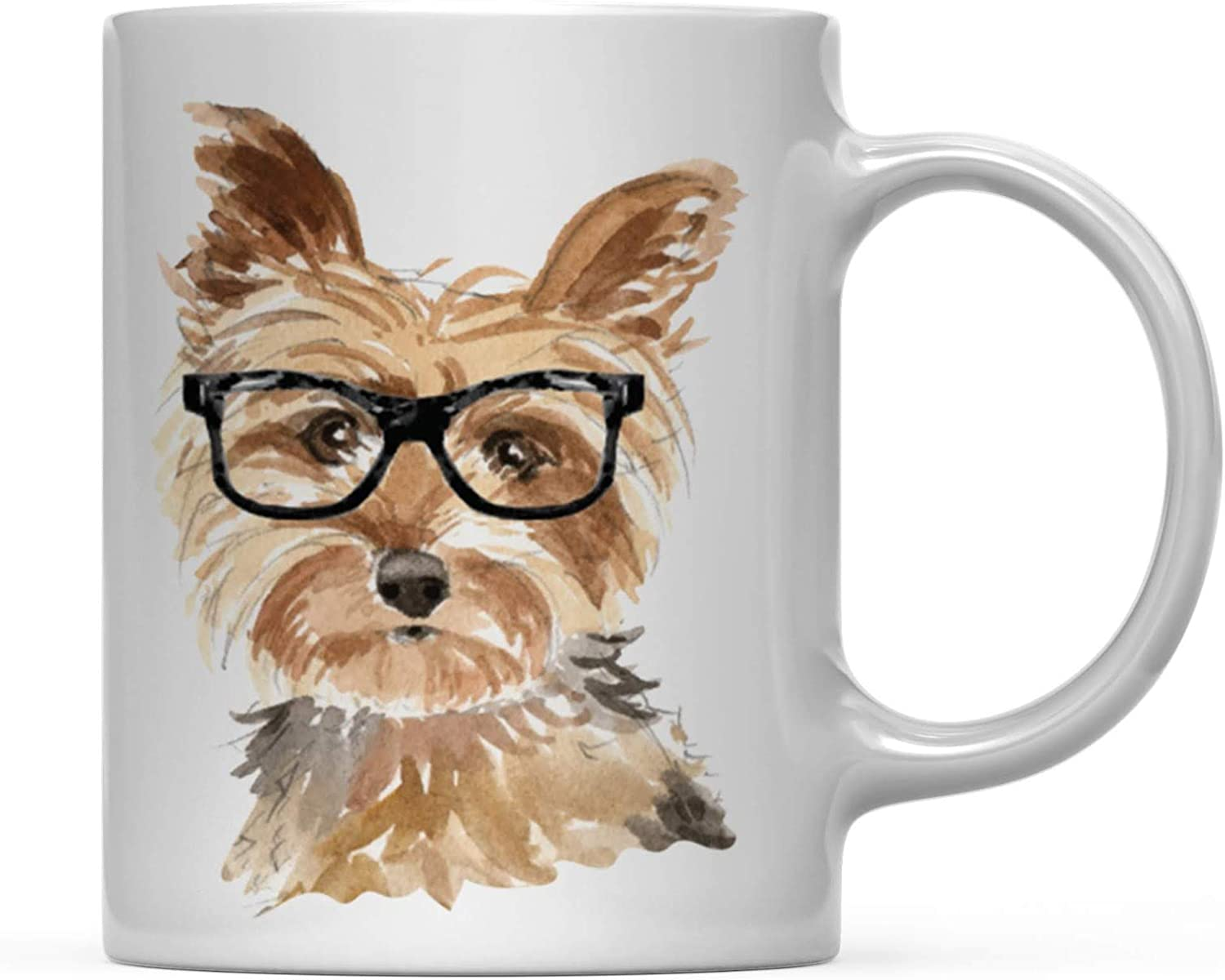 Amazon Com Andaz Press Funny Preppy Dog Art 11oz Coffee Mug Gift Yorkshire Terrier In Black Glasses 1 Pack Christmas Birthday Present Ideas For Him Her Dog Lover Health Personal Care