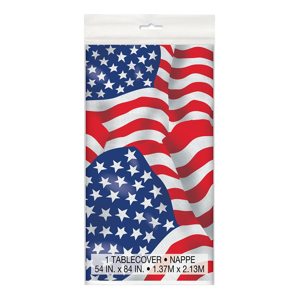 US American Flag Plastic Tablecloth, 84' x 54' 84 x 54 Unique 43743