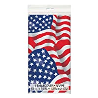 Unique Party Plastic US American Flag Tablecloth, 7ft x 4.5ft