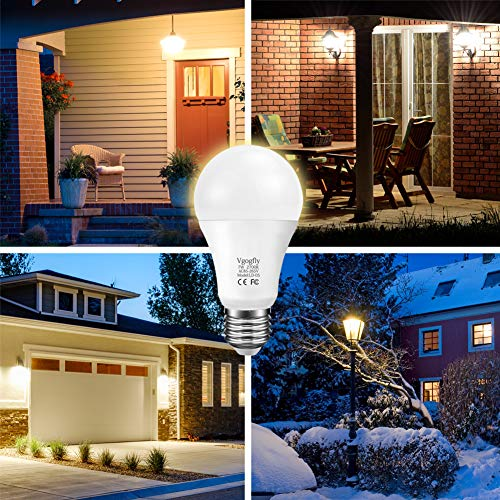 Dusk to Dawn Light Bulb Sensor Smart LED Outdoor Lighting Bulbs Lamp 7W E26/E27 Automatic On/Off, Indoor/Outdoor Yard Porch Patio Garden (Warm White, 3 Pack)