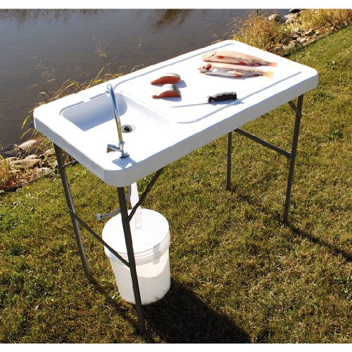 Guide Gear Fish & Game Cleaning / Processing Folding Table with Sink Faucet