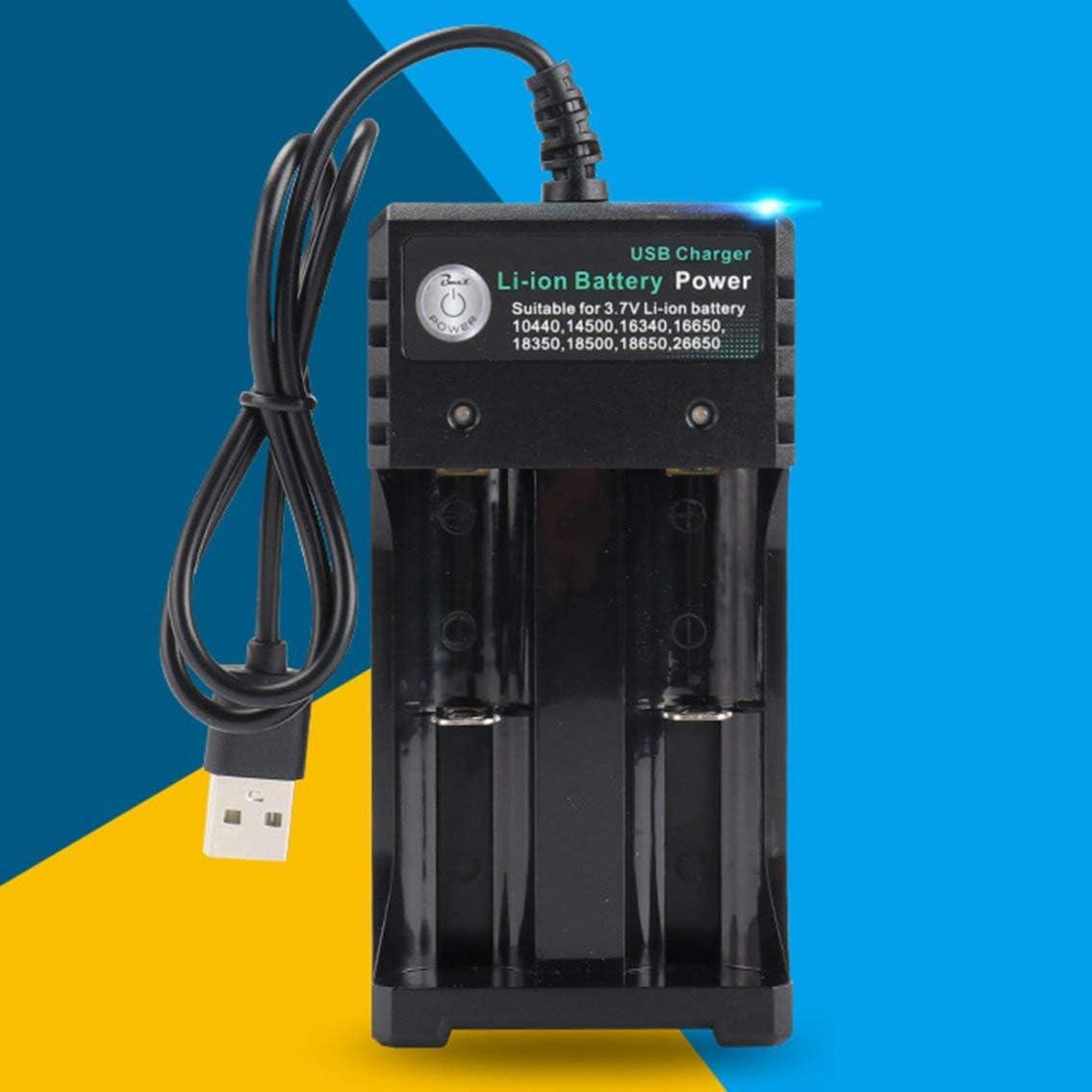 Cargador de bater/ía para 3.7V 18650 14500 16340 26650 Bater/ías 2 Puertos Cargador de bater/ía con Enchufe USB Accesorios para Herramientas el/éctricas-Negro