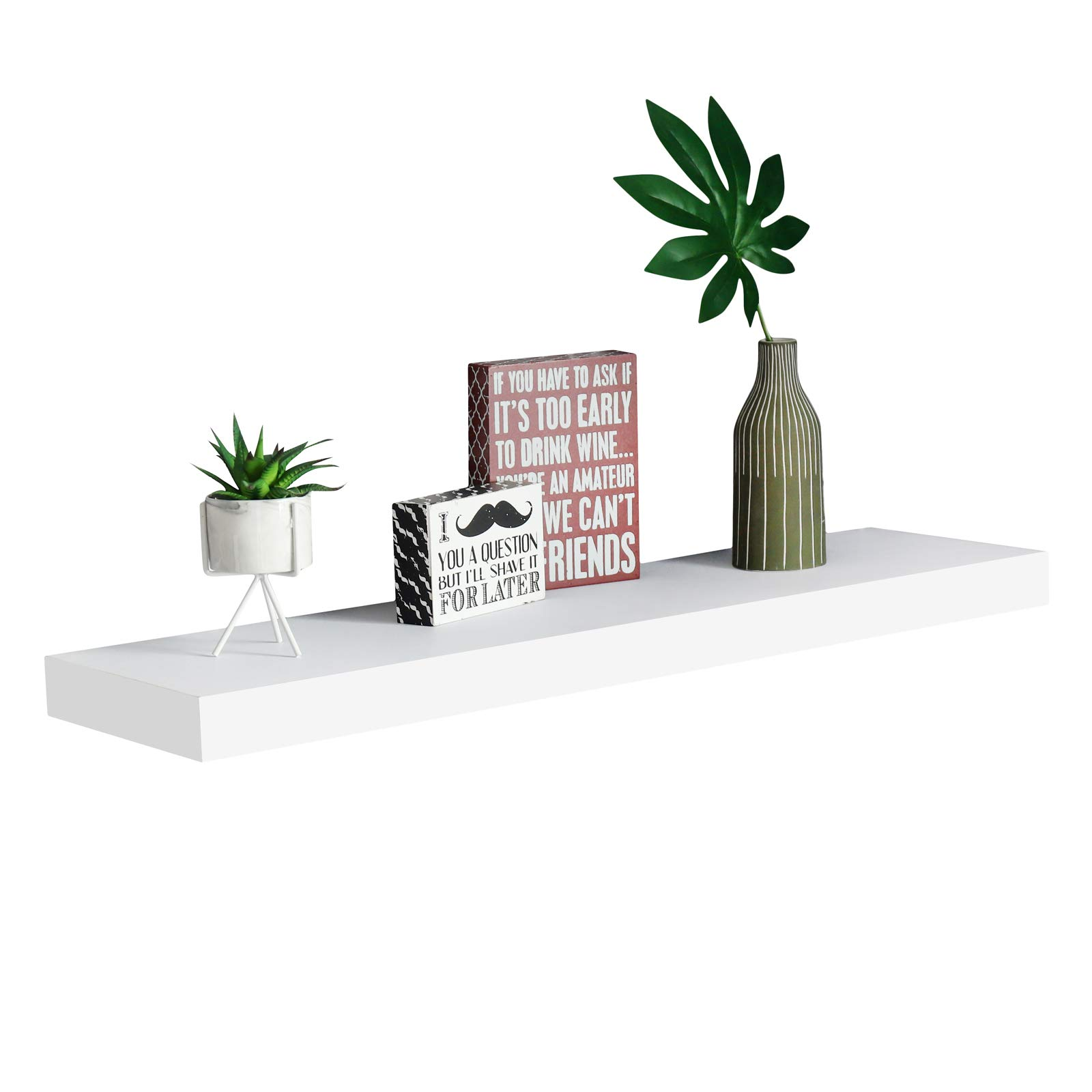 WELLAND 2'' Thickness Mission Floating Wall Shelf,Approx 36-inch Length, White by WELLAND