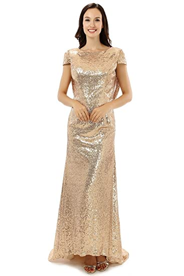 Ebelz Backless Scoop Golden Womens Long Formal Prom dresses Evening Gowns