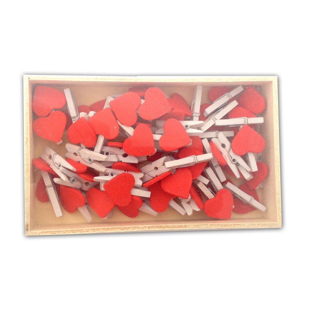 LWR Crafts Wooden Mini White Clothespins with Red Heart 48 Pieces in Box