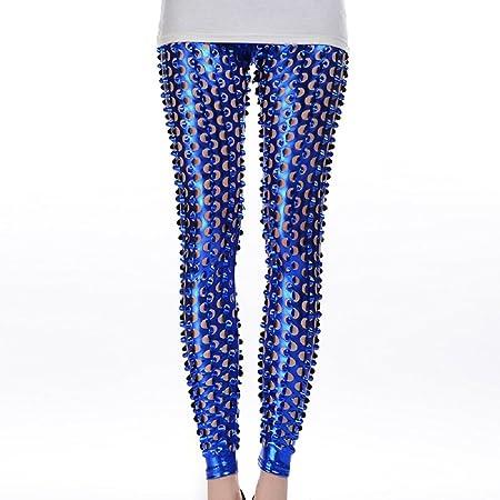cd2e7614c90f New Ladies Shiny Blue Hollow Out Leggings Fancy Dress Club Summer Wear  Leggings Size UK 10-12  Amazon.co.uk  DIY   Tools