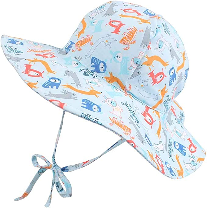 Protection Adjustable Wide Brim Bucket Cap for Kids UPF 50 Boys and Girls Baby Sun Hat /& Sunglasses Set