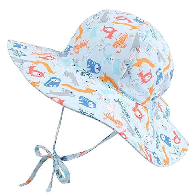 f76bd346 DUOYEREE Baby Sun Hat Wide Brim Protection Beach Infant Toddler Floppy Boy  Hats (0-