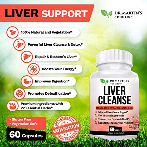 Liver Cleanse Detox Support Supplement 22 Natural Herbs for Your Liver Advanced Formula for Enhanced Liver Health Contains Milk Thistle Extract, Artichoke, Dandelion More