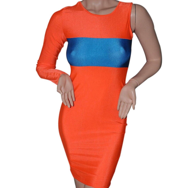 New 2014 Trendy Orange Red Single Long Sleeve Bodycon Slim Party Club Mini Dress