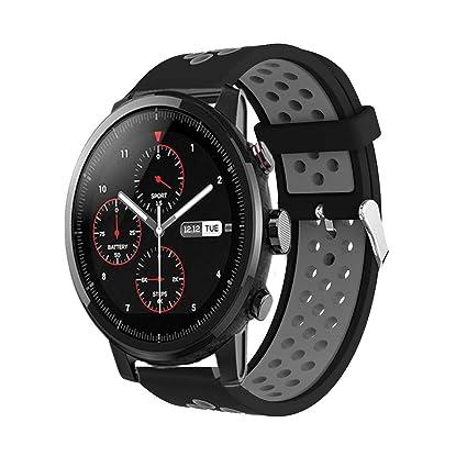 Saisiyiky Correa de Reloj Compatible con Amazfit Xiaomi Huami ,22mm de Silicona Ajuste rápido Pulsera de Repuesto para Pulsera Deportiva Smart Watch ...
