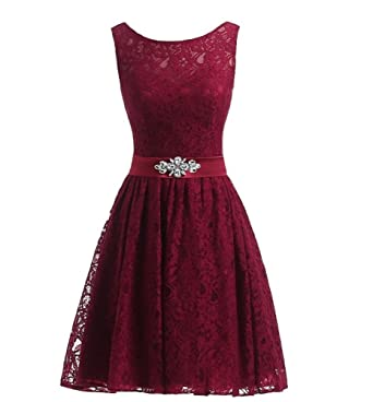 MMJULY Womens Floral Lace Beaded Short Prom Dress Bridesmaid Dresses Burgundy ...