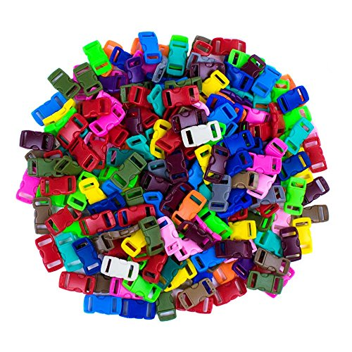 Find Bargain Craft County 200 Piece 3/8 Contoured Side Release Plastic Buckles (20 Assorted Colors)