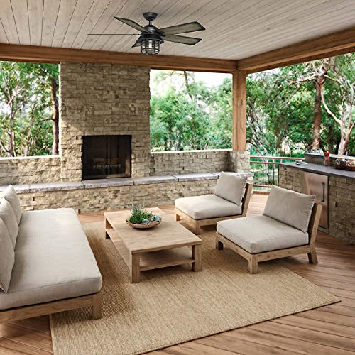Hunter 54'' Coral Gables Reversible Burnished Gray Pine Blades Remote Controlled Ceiling Fan in Weathered Zinc Finish