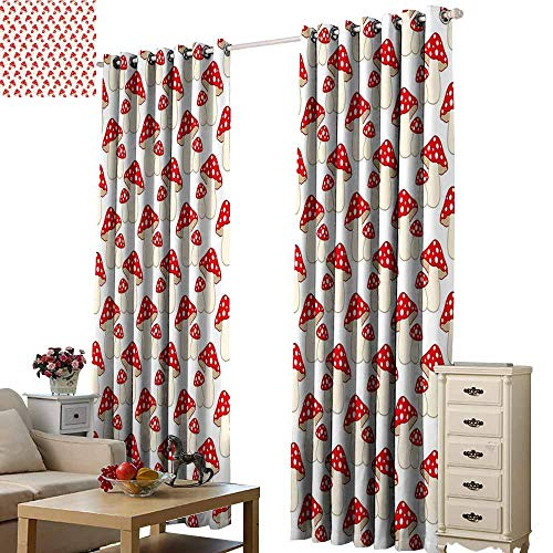 Study Style Bunk Full Loft (Beihai1Sun Window Curtain Finished Drapes Mushroom Cartoon Style Cute Amanita Mushrooms Dotted Forest Plants Summer Nature Kids Design Cream Red Modern City Curtains with Luxury W96 x H72)
