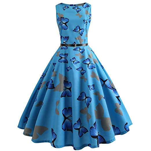 50S 60S Vintage Dresses Sleeveless for Women Floral Print Prom Cocktail  Pleated Dresses for Summer at Amazon Women s Clothing store  cd3e13085