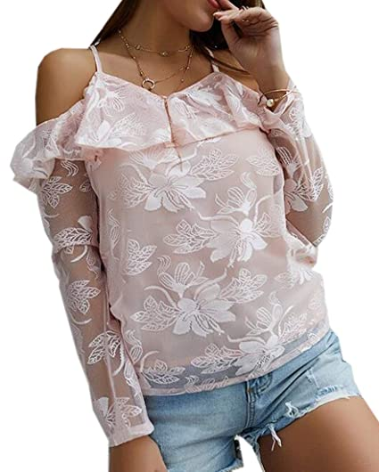 f3963500d81d7 ARTFFEL Womens Fashion Long Sleeve Ruffle Cold Shoulder Top Blouse T-Shirt  at Amazon Women s Clothing store