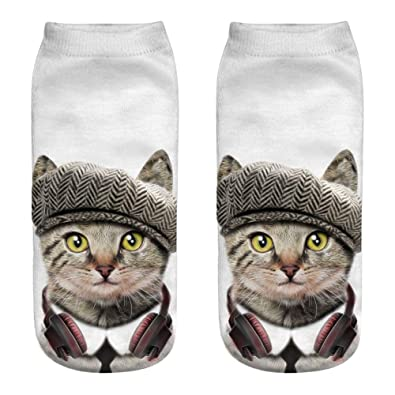 Women 3D Dog Novelty Cotton Animal Cute Trainer Funny Ankle Fashion Stripe Socks