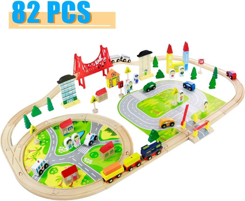 Tren Juguete Madera para Niños- 82 Piezas Trenes de Juguete con Coches y Pista de Madera Bloques de Construcción Juguetes Educativos 3 4 5 6 Años