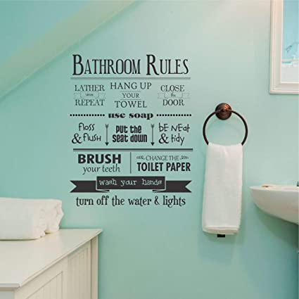 Amazoncom Wall Quote Decal Bathroom Rules House Rules Kids