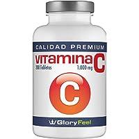Vitamina C - 200 comprimidos de vitamina c pura - Vitamina C 1000 mg puros por pastilla Vegana - Para un suministro de 7 meses de vitamin c - Suplemento Premium de GloryFeel