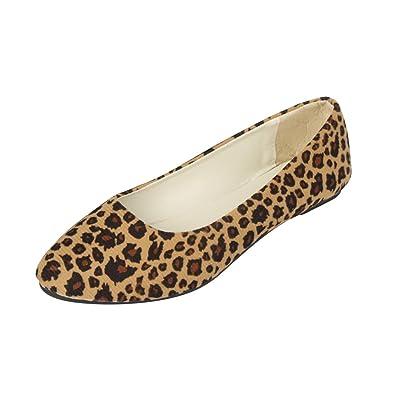 54257a4b9aad MISSMAO Ladies Everyday Casual Comfort Leopard Print Slip on Ballerinas Ballet  Pumps Summer Flat Shoes for