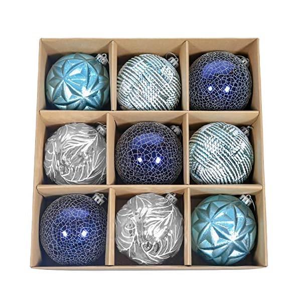 Valery Madelyn Palle di Natale 9 Pezzi 10cm Palle di Natale, Winter Wishes Argento e Blu Infrangibile Palla di Natale Ornamenti Decorazione per la Decorazione Dell'Albero di Natale 1 spesavip