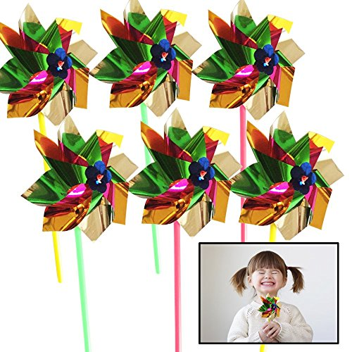 Toy Cubby Party Spinning Pinwheels - Pack of 12 Pieces - Flamboyant, Bombastic, Multi Colored Beach and Backyard Turn Wheel - Party Supply, Holiday Decor, and Summer Accessory -
