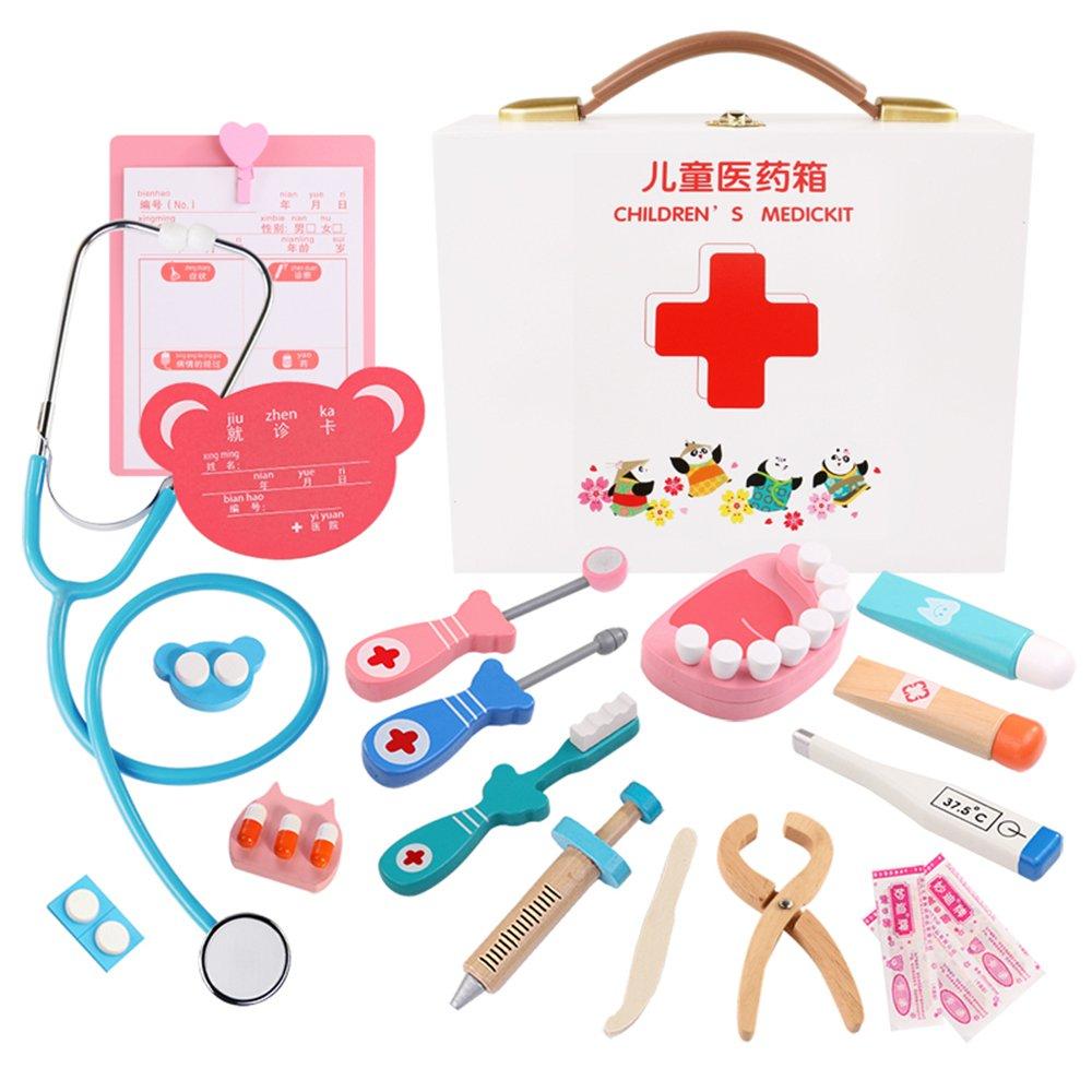 Decdeal Doktor Spielset Arzt-Set für Kinder Medizinische Holzwerkzeug Kit Rollenspiel Spielzeug für Kinder