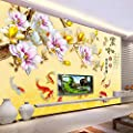 XLi-You 3D Chinese nine fish figure living room TV background wall paintings wallpaper
