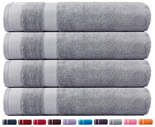 CASA COPENHAGEN Solitaire Cotton 4 Pack 30 inches by 60 inches 17.70 oz/yd² Thick Bath Towels Set - Feather Grey