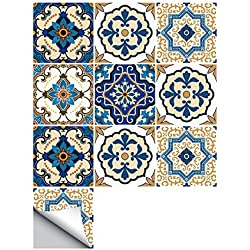 10PCS Moroccan Style Tile Stickers Waterproof Wall Stickers Bathroom Art Decor,6x6 inch