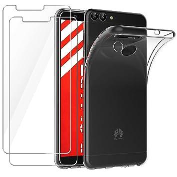 Leathlux Funda + 2X Cristal para Huawei P Smart, Carcasa P Smart Transparente TPU Silicona [Funda + 2 Pack Vidrio Templado] Ultra Fino Protector de ...