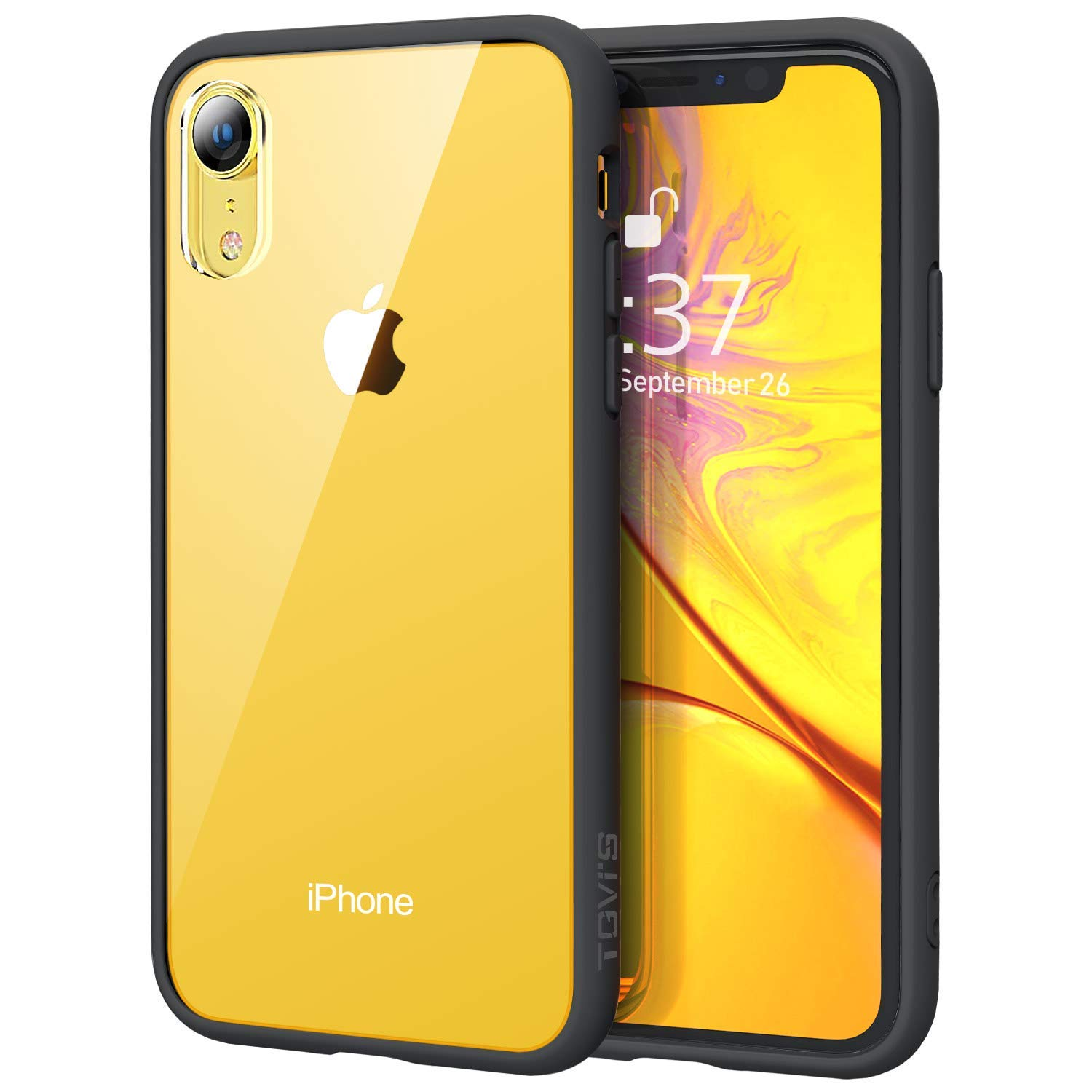 outlet store f8210 c2f44 OCYCLONE XR Clear Case, iPhone XR Clear Case, [Anti-Yellow]  [Anti-Scratches] Slim Thin 9H Tempered Glass Back with Soft Black TPU  Bumper Protective ...