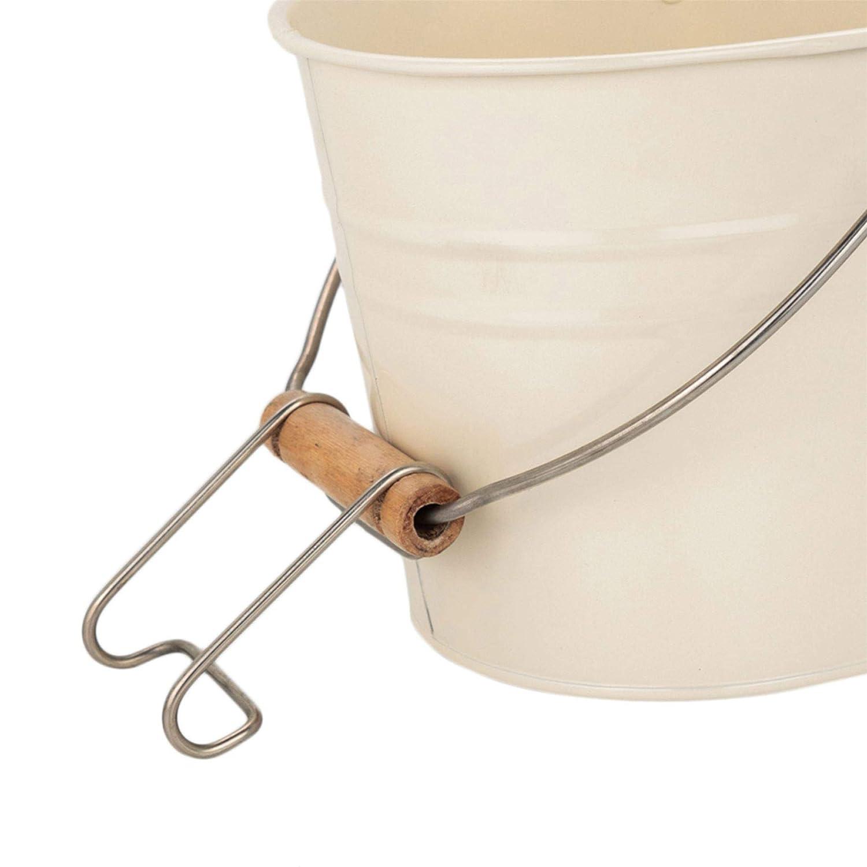 Estilo Vintage Crema Harbour Housewares Cesta met/álica para Guardar Las Pinzas de la Ropa