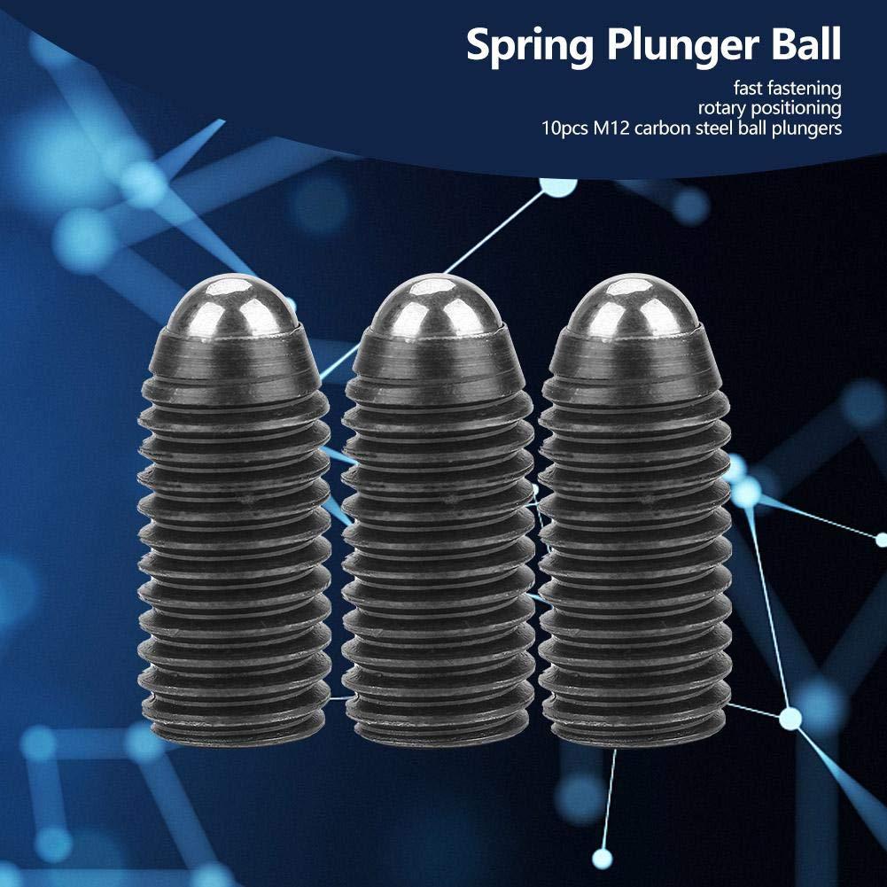 M1225 10Pcs M12 Screw Thread Hex Socket Carbon Steel Ball Drive Spring Plungers Set