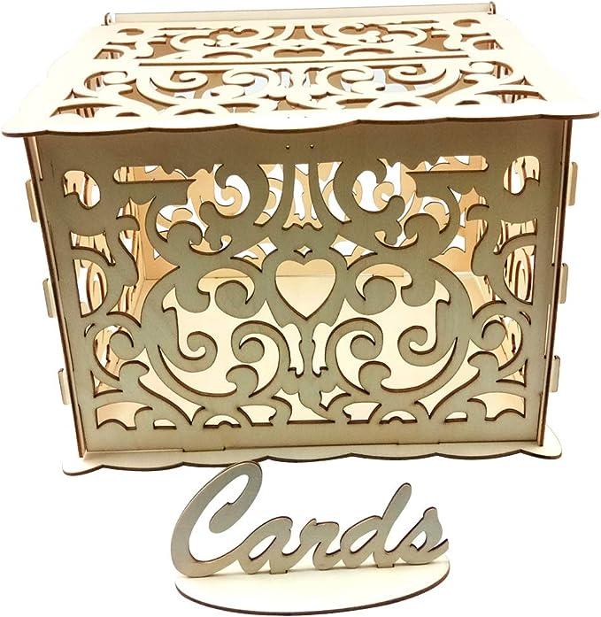 Hletgo - Hucha de Boda con Cerradura para Tarjetas - Caja de Madera para Tarjetas de Boda DIY - Cajas de Regalo pequeñas: Amazon.es: Hogar