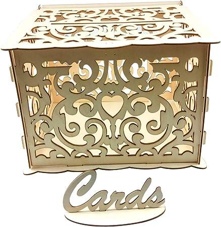 LLAni - Tarjetas huecas de madera para manualidades, caja de dinero, caja rústica para recepción, baby shower, boda: Amazon.es: Hogar