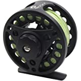 Croch Fly Fishing Reel with Aluminum Alloy Body + 100FT Fly Fishing Lines + Backing + Tapered Leader